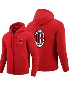 AC Milan Full-Zipper Hoodies Fleece Jackets