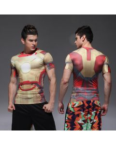 Compression Mens Iron Man Fitness T Shirt