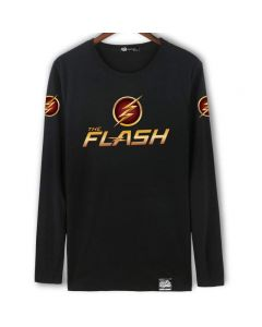 DC The Flash Long Sleeve Black Shirt