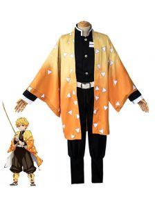 Demon Slayer  Agatsuma Zenitsu Cosplay Costume Cloak Cape