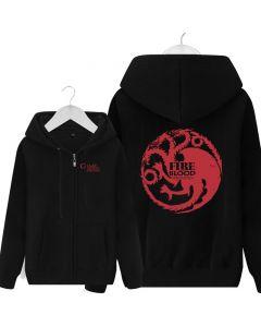 Game of Thrones Team targaryen printed pullover fleece full zipper Hoodie