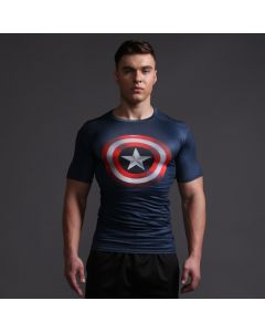 Mens Captain America Shield Fitness T Shirt
