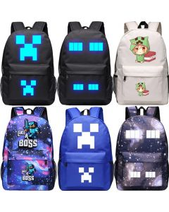 Minecraft Creepy Creeper Backpack School bag Enderman Student Bag