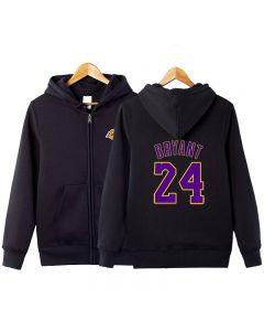 NBA Kobe Bryant Number 24 Zipper Hoodie