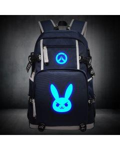 Overwatch D.va Luminous Backpack USB Charger Bag
