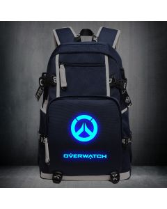 Overwatch Logo Luminous Backpack USB Charger Bag