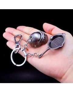 PUBG Spetsnaz Helmet Pan Action Figure Keychain Set