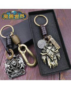 World of Warcraft Horde Alliance Logo Keychain Badge