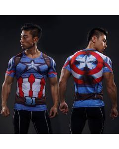 Mens Captain America Fitness Compression Shirt