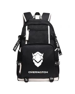 Overwatch Genji Canvas Backpack USB Charger Bag
