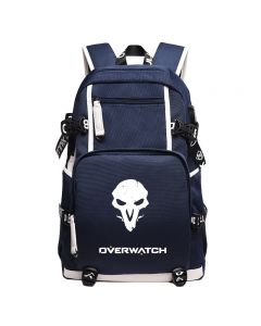 Overwatch Reaper Canvas Backpack USB Charger Bag