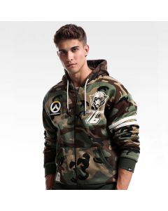 Overwatch Soldier 76 Design Army Green Hoodie