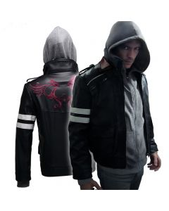Prototype Alex Mercer Cosplay Costume Embroidered Jacket PU Leather Coat