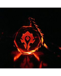 World of Warcraft Horde Alliance Logo LED Crystal Keychain