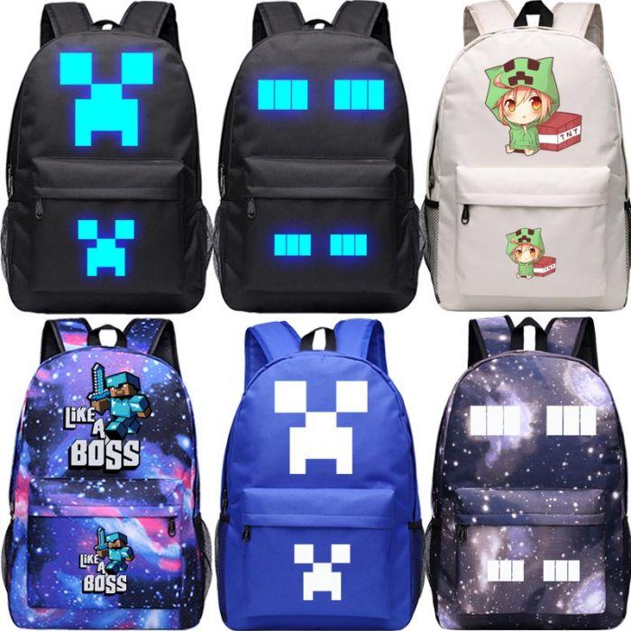 Fast Shipping Creeper Backpack Rucksack Waterproof School Bag For Kids Minecraft