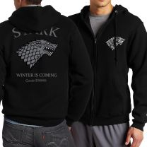 Game of thrones house Stark zipper hoodies men Sweatshirts
