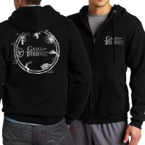 Game of thrones printed full zip hoodie hooded Sweatshirt