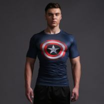 Mens Captain America Shield Fitness T Shirt