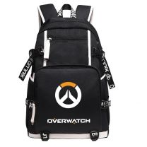 Overwatch Logo Canvas Backpack USB Charger Bag