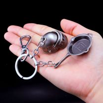 PUBG Spetsnaz Helmet Pan Action Figure Keychain Set