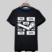 Steam Logo Printed T-Shirt Short Sleeve Shirt