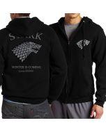 Game of thrones house Stark zipper hoodies men Sweatshirts