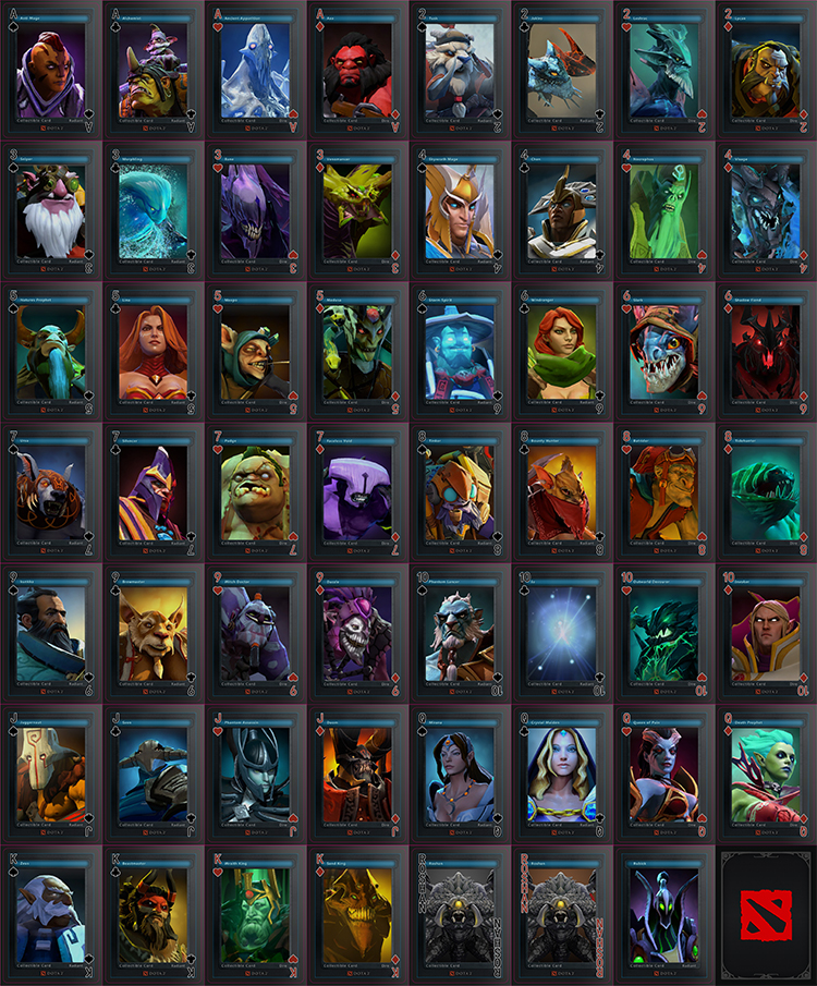 DOTA 2 Heroes Poker Characters Playing Cards